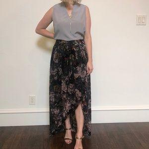 Velvet and silk floral high low skirt!